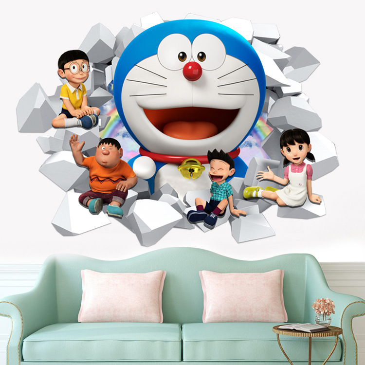 New 3D Cartoon Doraemon Wall Stickers Child Bedroom Living Room Decoration Kid Nursery Wall Decals Gift for Kids Wallpaper