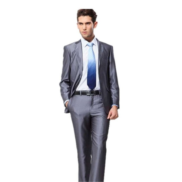 New Two Buttons Shinny Grey Suits Men Tuxedos Wedding Suits Groom ...