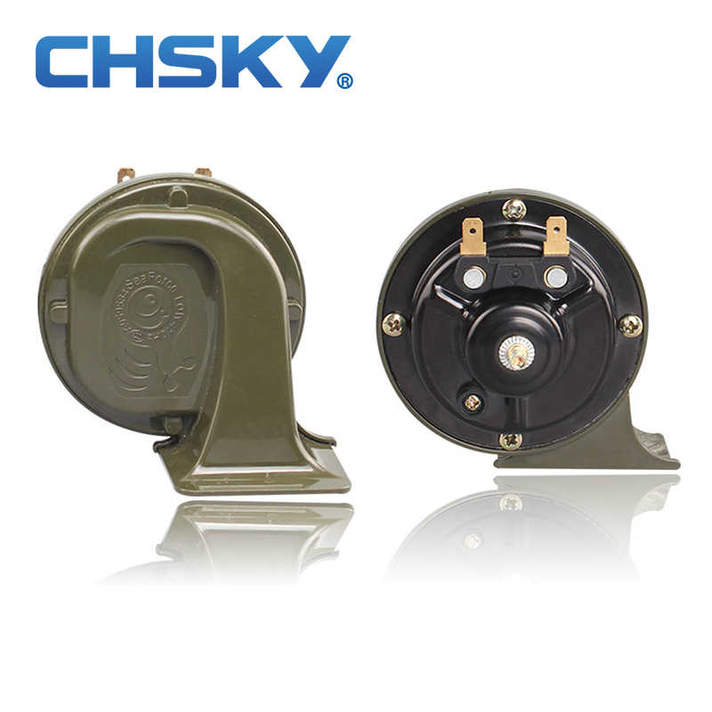 CHSKY Sound Crisp Elegance Car Horn 12V Loudness 110-129DB Auto Snail Horn Long Life Time High Low Klaxon Horn Car Styling