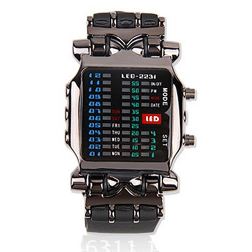 Unisex Binary LED Stainless Steel Digital Sport Watch Date Square Dial Casual Plastic Band Wrist Watch Electronics WristwatchesUUnisex Binary LED Stainless Steel Digital Sport Watch Date Square Dial Casual Plastic Band Wrist Watch Electronics WristwatchesU