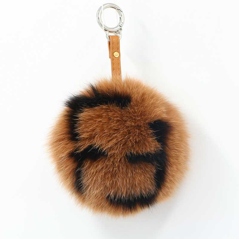 все цены на Brand FF letter ball fur key chain genuine fur fox ball keychain 15cm fluffy solid round fur pompom handbag bag charm key chain