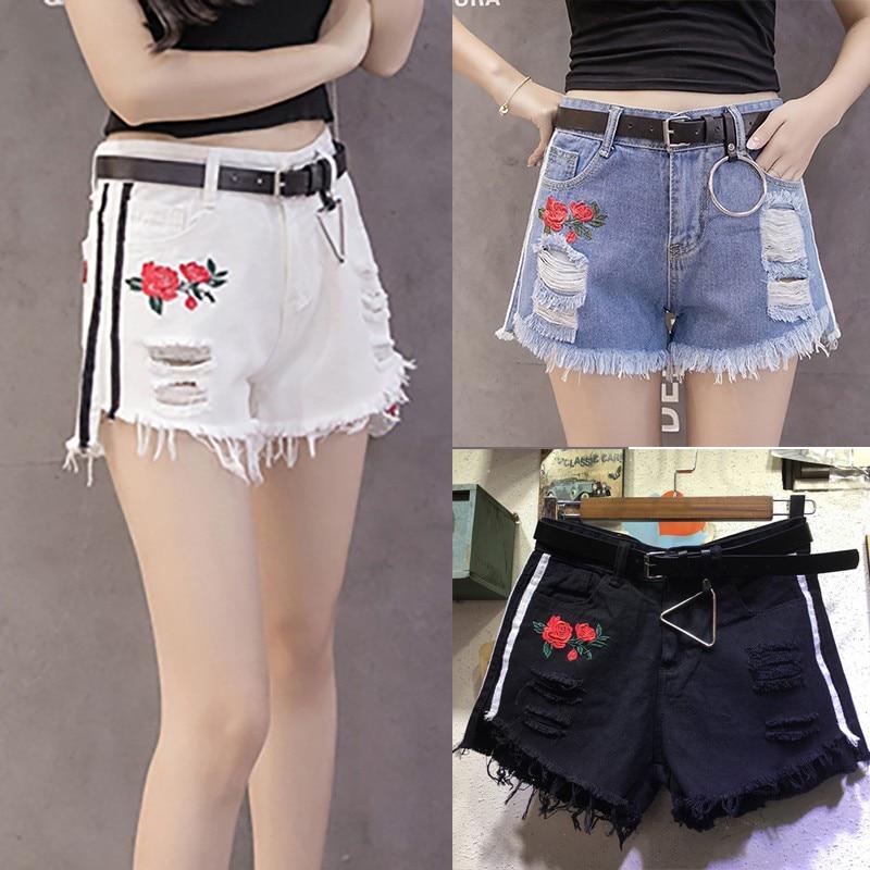 Summer Rose Flower Embroidery Hole Shorts Women Vintage White Denim Ripped Fringe Shorts Raw Edge Sexy Mini Jeans Shorts