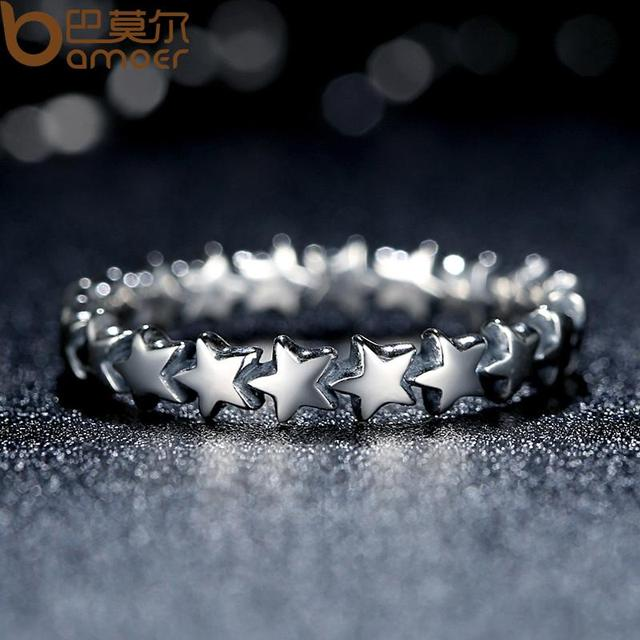 BAMOER HOT SALE Silver 925 Stackable Finger Ring For Women Wedding 100% 925 Sterling Silver Jewelry 2019 HOT SELL PA7151 3