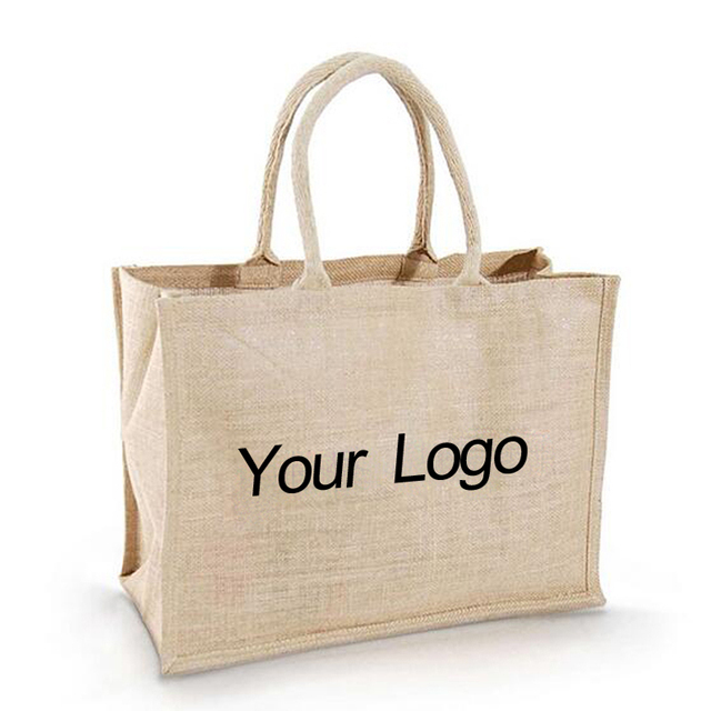 7db74d81a wholesale 500pcs lot custom printed company logo Burlap Jute Hessian  shopping bags reusable grocery Jute tote Jute shoulder bags