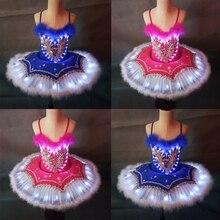 Children Platter Tutu LED Ballet Costumes Feather Swan Lake Girls Dancing luminous Princess Dress Kids Ballerina Party Costume