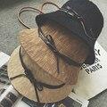 2016 Mujeres Del Verano hembra Sombrero sol de punto sombreros de cubo strawhat arco trenza de paja Playa Sombrero sunbonnet 7 colores