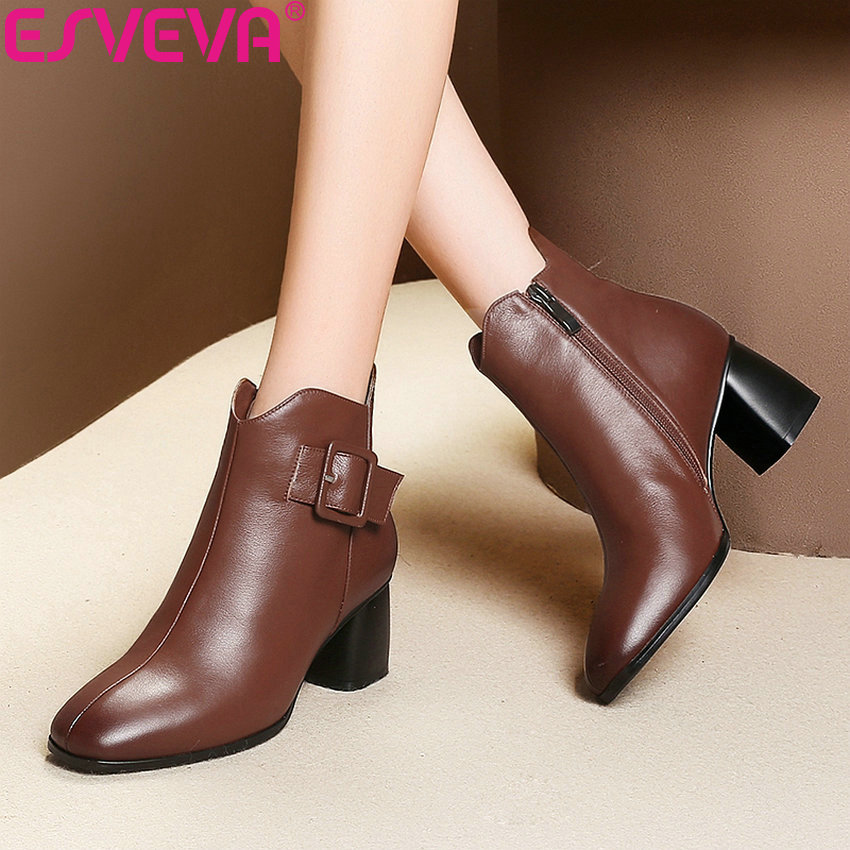 ESVEVA 2019 Woman Chelsea Boots Buckle Shoes Square Toe High Heels Shoes Zip Winter Women Handmade Classical Ankle Boots 34-42 enmayla autumn winter chelsea ankle boots for women faux suede square toe high heels shoes woman chunky heels boots khaki black