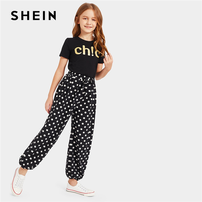 SHEIN Kiddie Gold Letter Top And Bow Polka Dot Pants Set Girls Clothing Two Piece Set 2019 Summer Short Sleeve Kids Clothes girls polka dot babydoll dress