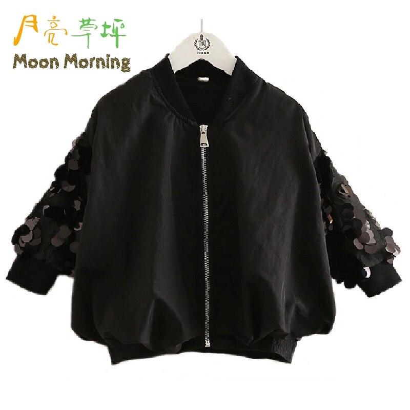 Moon Morning Kids Blouse 2T~8T Cotton Sequins Mandarin Collar Children Shirts Zipper Fly Formal Long Sleeve Autumn Meisjes Fille