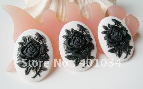 bae66fce2fb Oval white resin cabochon with black rose cameo,18*25mm for jewellery  making,