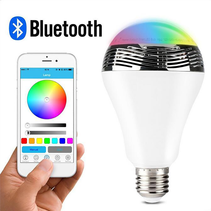 Intelligent E27 6W 85-265V RGB LED Bulb Bluetooth Smart Lighting Lamp Colorful Dimmable Speaker Lights Bulb With Remote Control smart dimmable mushroom led bulb household intelligent lighting rgb e27 600lm ac85 265v switchable for ios and android