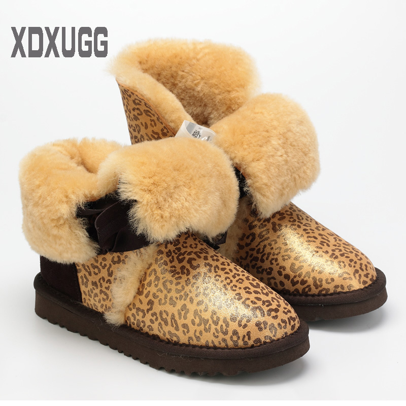 2018 XDXUGG Superior quality! Sheep fur snow boots female Warm winter Flat Bandage Calf height Boots, Free shipping2018 XDXUGG Superior quality! Sheep fur snow boots female Warm winter Flat Bandage Calf height Boots, Free shipping