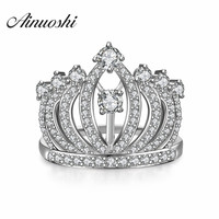Neueste 925 Sterling Silber Prinzessin Crown Ringe Für Frauen Europäische Marke Braut Hochzeit Verlobungsring Tiara Ringe Edlen Schmuck