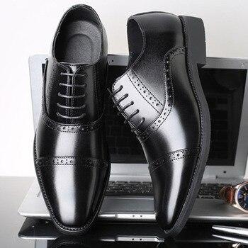 SHANZU Men Dress Shoes Simple Style Quality Men Oxford Shoes Lace-up Brand Men Formal Shoes Men Leather Wedding Shoes 637