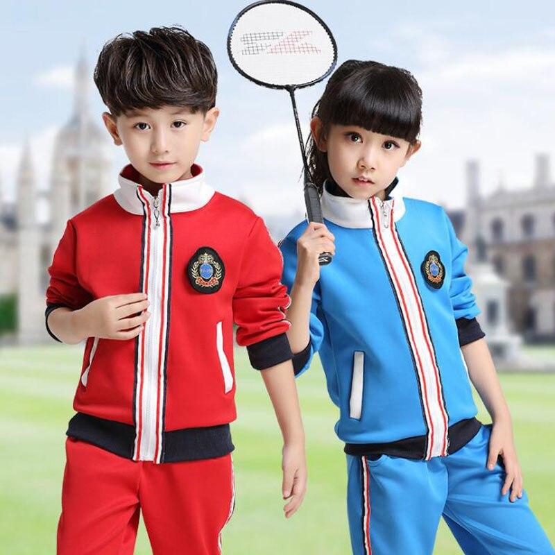 Blue KIds Primary School Uniform Teen Students Tracksuits ...