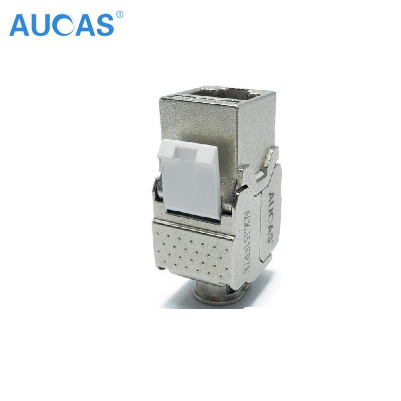 AUCAS 4 unids Cat5e keystone rj45 blindado FTP Módulo de Aleación - Cables de computadora y conectores - foto 2