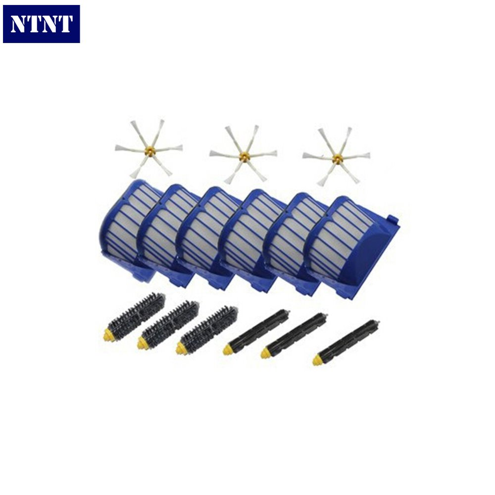 NTNT 3 set Brush kit + 6 AeroVac Filter for iRobot Roomba 600 Series 620 630 650 660 Replacement,Vacuum Cleaner Accessories 2 blue aerovac filter 4 main brush kit 4 side brush 3 srews replacement for irobot roomba 600 series 620 630 650 660 accessory