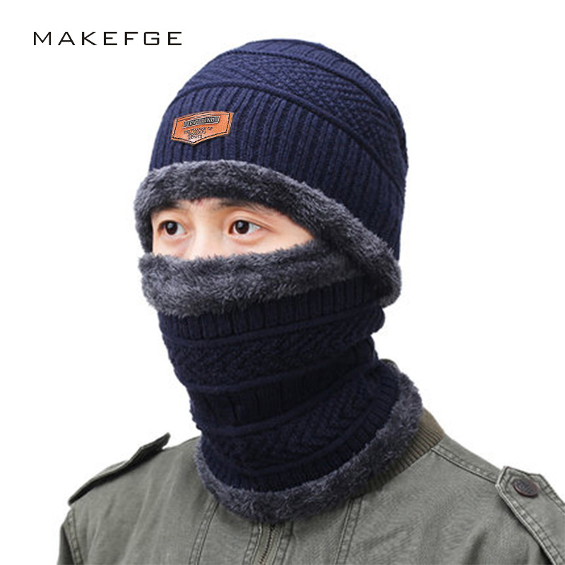 Winter Men's Knit Cotton Caps Warm And Comfortable Ski Hats Plus Velvet Thick Woman's Winter Unisex Beanies Skullies Male Bone