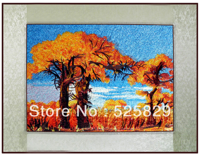 Chinese Traditional Diy Embroidery Gold tree Wall Art Beautiful Home Decor Artificial Crafts