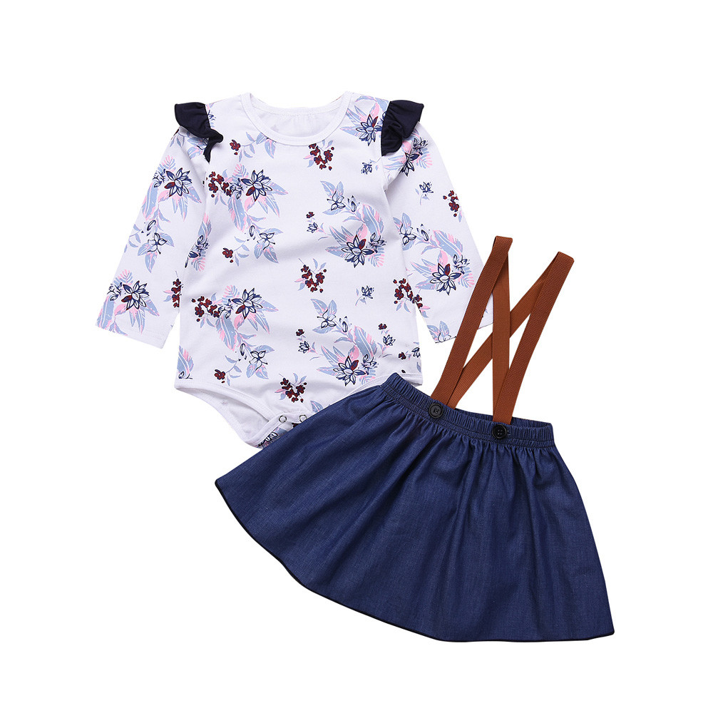 Baby Christmas Outfits,Girl Long Sleeve T-Shirt Ruffle Top Overalls Strap Dress Clothes Set Plaid Skirt Winter