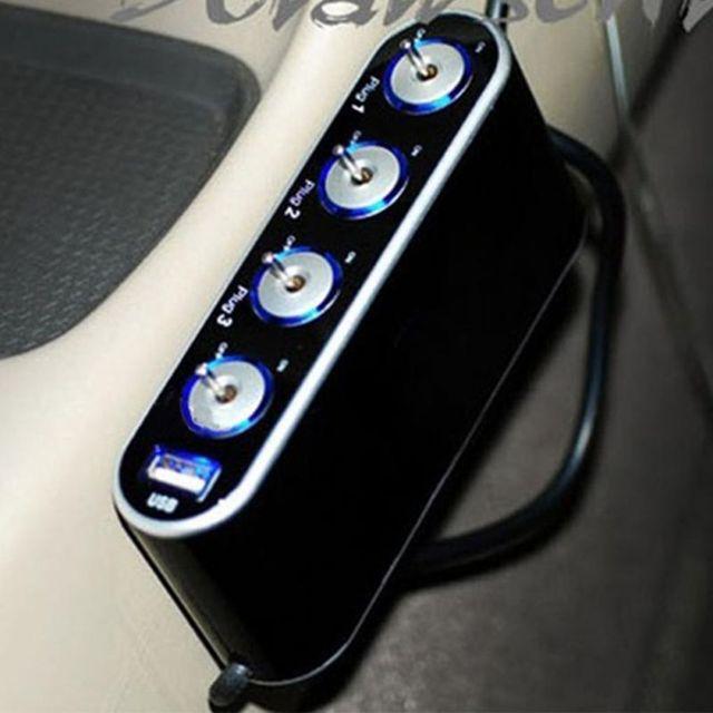 12V 4 Way Multi Socket Car Charger Vehicle Auto Cigarette Lighter Socket Splitter with USB Ports Plug Adapter