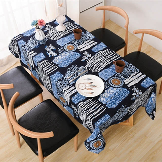 Gentil Cartoon Geometric Casual Cotton Linen Tablecloths Decorative Home Decor Table  Cloth High Quality Tablecloth