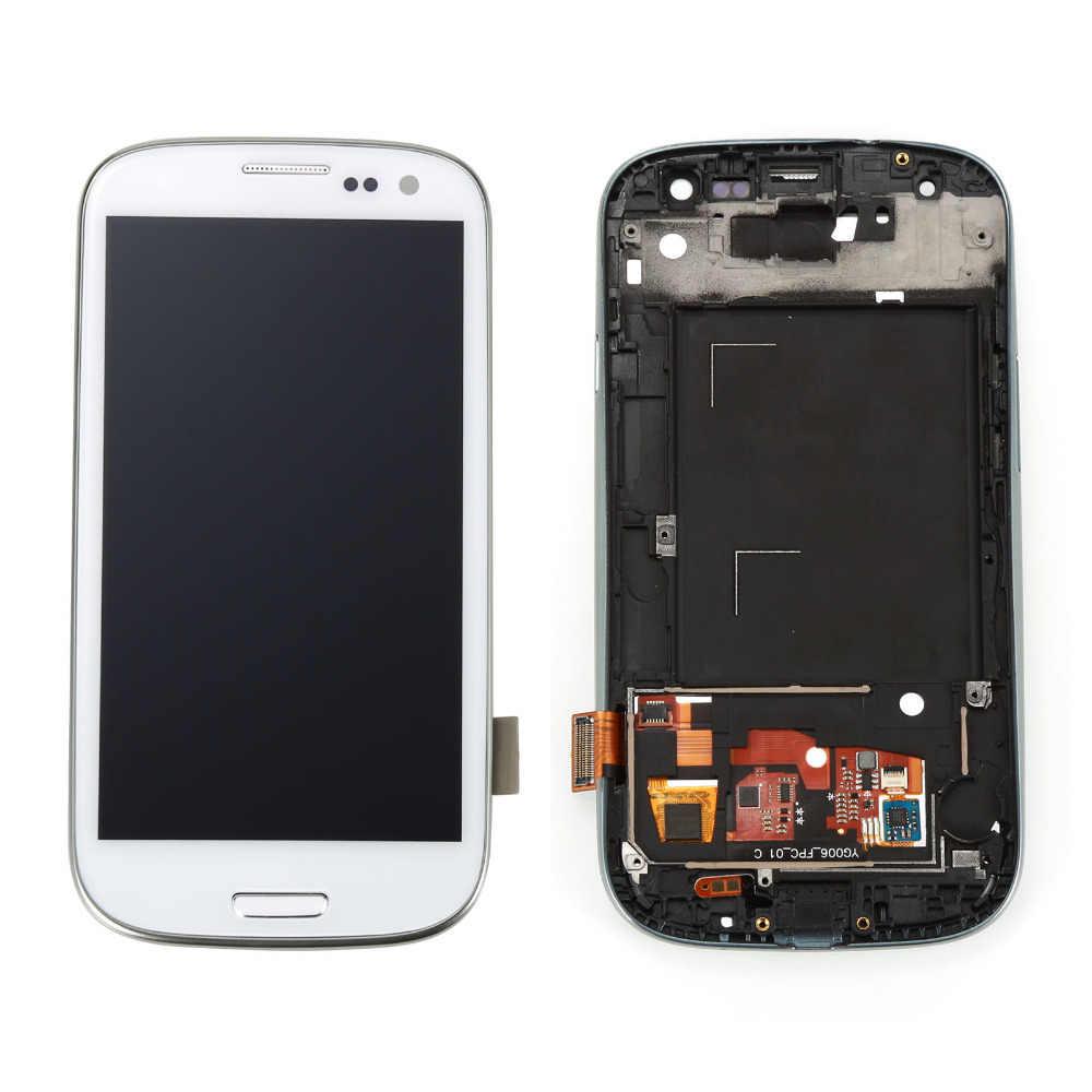 I9300 شاشات lcd لسامسونج غالاكسي S3 عرض I9300 شاشة الكريستال السائل مجموعة المحولات الرقمية لشاشة تعمل بلمس مع الإطار استبدال أجزاء
