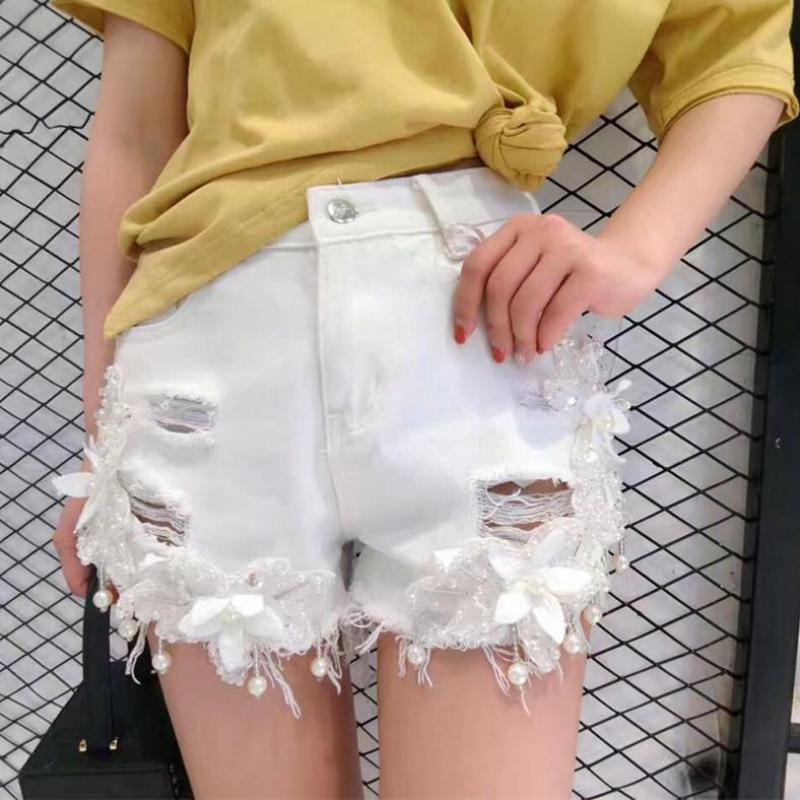 Zuolunouba Femme Trou Lady Mi Floral Short Mode Hhdk3 Harajuku Mince Blanc Zipper Perles Office D'été 10 twPwg