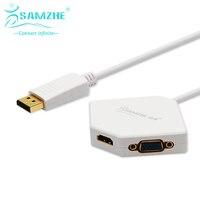 SAMZHE Pole Rombu DP Adapter zmienić na VGA/DVI/HDMI Port Biały DP Kabel z pozłacane Splitter Apple w Projektor programów TELEWIZYJNYCH