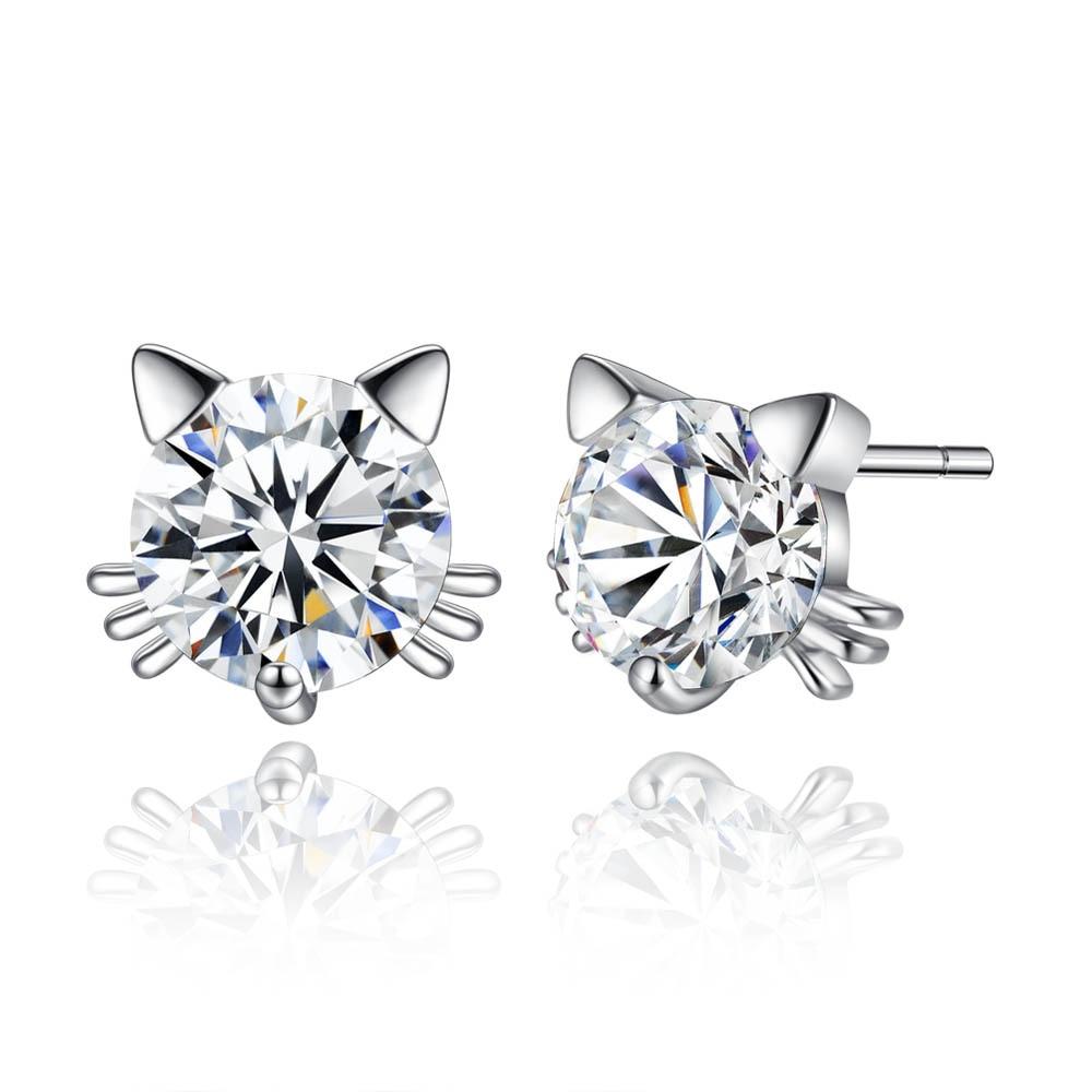 Silikolove 1pair Personality Kitty Cat Stud Earrings Fashion Simple Cute Animal  Earrings Women Jewelry Accessories