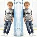 Crianças Meninos Manga Comprida Pulôver Shirt + Jeans Calças 2016 Primavera Roupa Dos Miúdos Casual Meninos Conjunto de Roupas