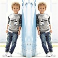 Kids Boys Long Sleeve Pullover Shirt + Jeans Denim Trousers 2016 Spring Kids Clothes  Casual Boys Clothing Set