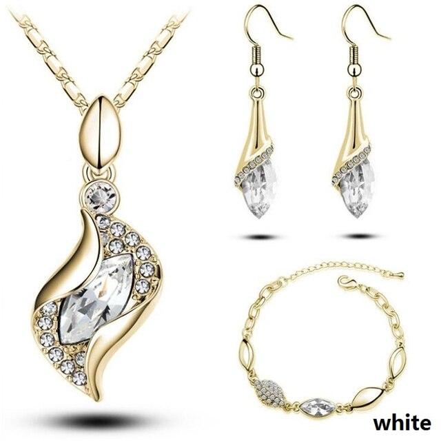אופנה מתנה לחתונה תכשיטי זהב צבע מים Drop צורת קריסטל עגילי שרשרת מתכוונן צמידי סט נשים תכשיטי סטים