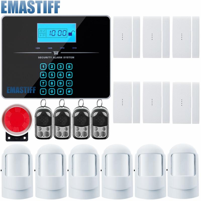 imágenes para Quad band wireless/wired pstn gsm lcd sistema de alarma de puerta sensor de seguridad para el hogar sistemas de alarma Sirena Atada Con Alambre Kit SIM SMS alarma