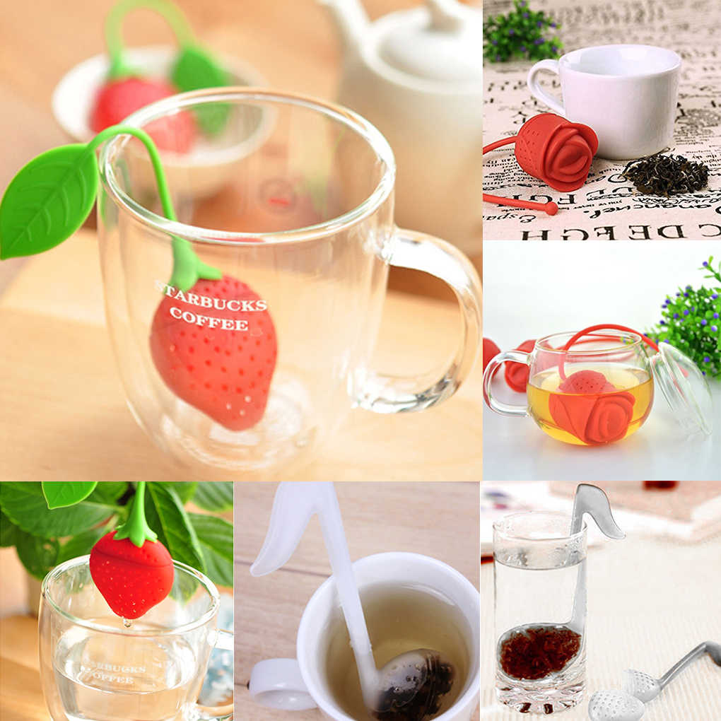 1pcs Silicone Strawberry Lemon Design Loose Tea Leaf Strainer Herbal Spice Infuser Filter Tools
