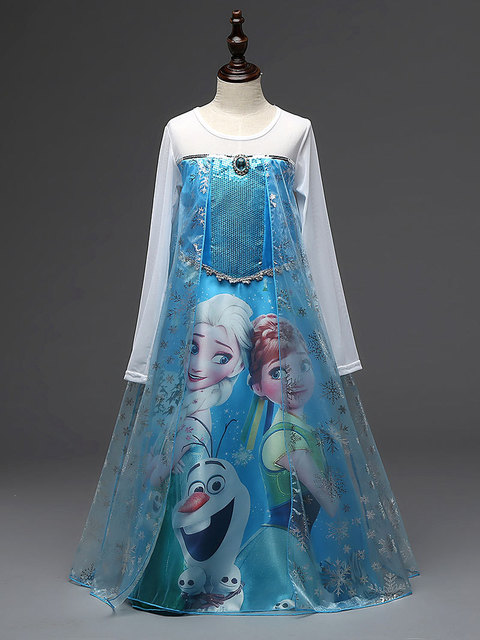 Elsa Anna Vestido Da Menina Para O Casamento Do Partido Dos Miúdos Verão Luva Cheia de Lantejoulas Tule vestido de Princesa Vestido de Noite Para A Menina Roupas Cosplay
