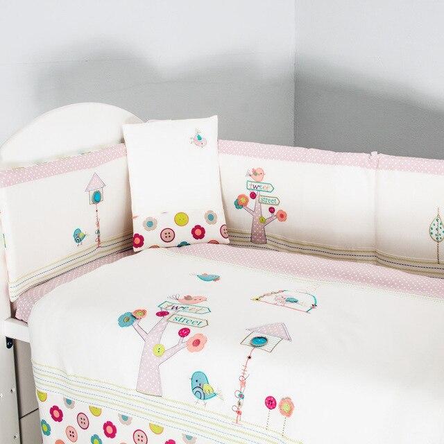 Rosa Bordado de aves flores bebé juego de cama edredón almohada ...