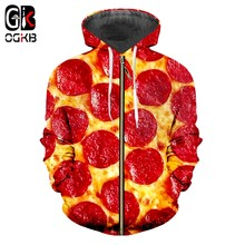 OGKB Zipper Hoodies Hombre New Slim Fit Food 3D Hoody Printing Red Pizza Casual Oversized Clothes Man Winter Hoodies Sweatshirts(China)
