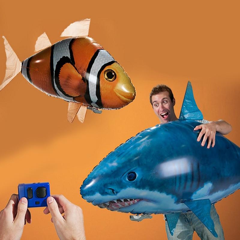 Tiburón de juguete con Control remoto, pez de natación en el aire, globos de aire RC infrarrojos, Avión de aire volador RC inflable, juguetes para niños