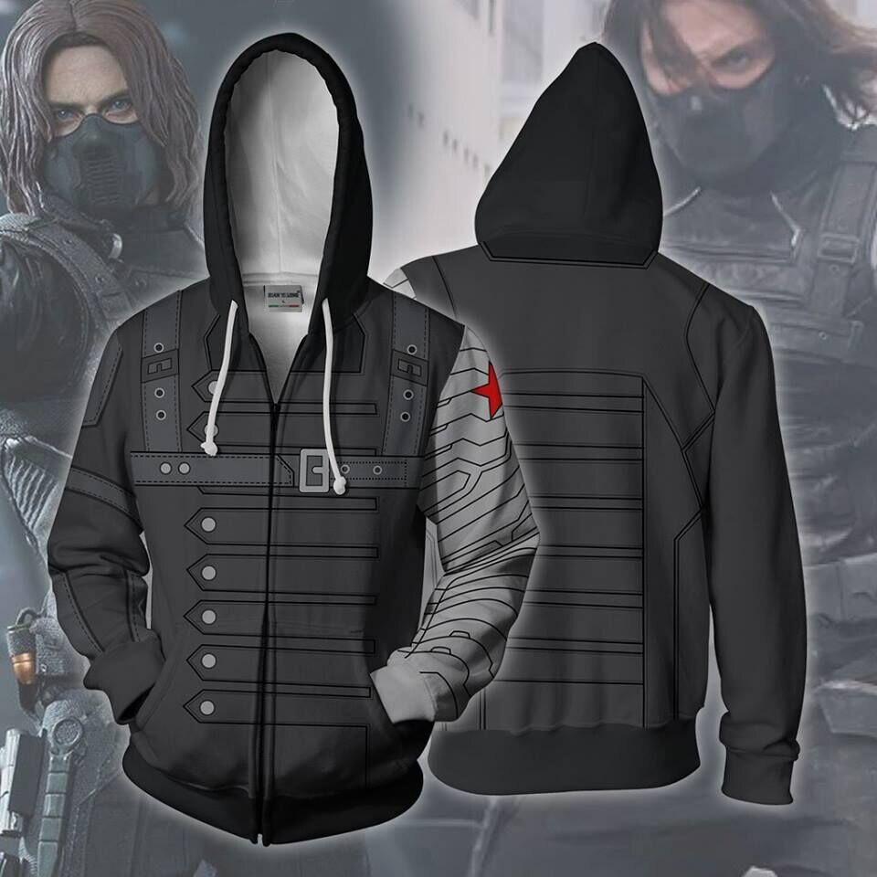 2019 New Men Hooded Winter Infinity War Soldier 3D Printed Hoodies Sweatpants Casual Hooded Zipper Hip Hop Tops