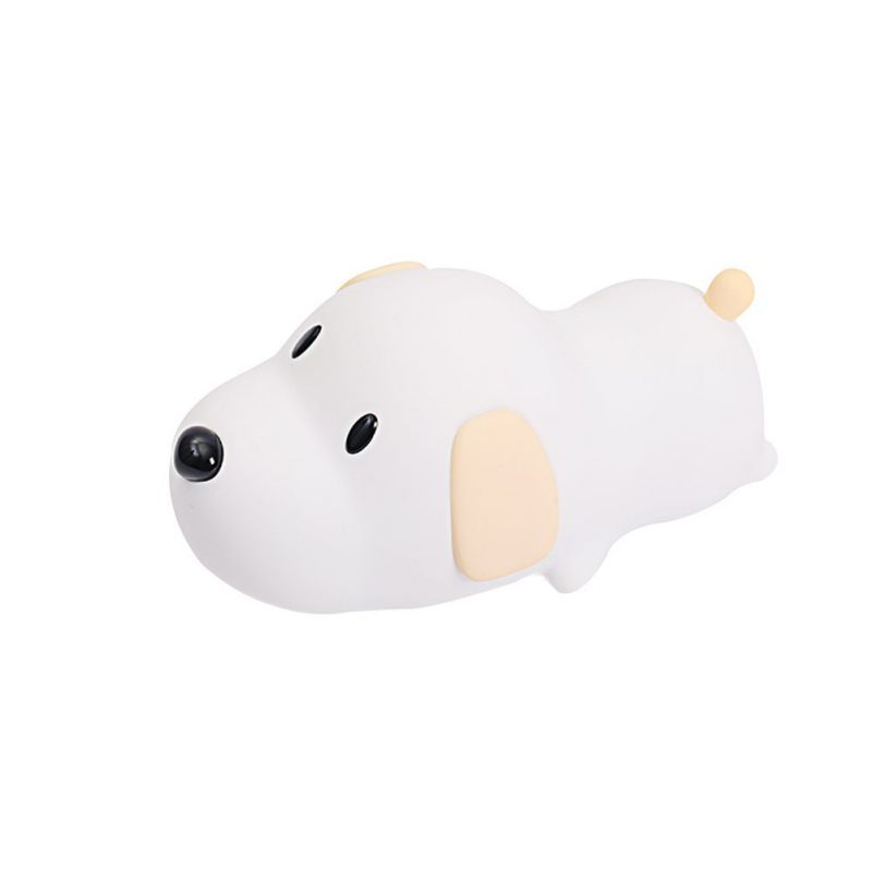 Cute Wang Lamp Sleep With Baby Creative Puppy Silicone Lamp Tummy Tummy Dog Night Light USB Charged Touch Timing Bedside Light brelong smart timing sleep bedside sensor alarm clock night light