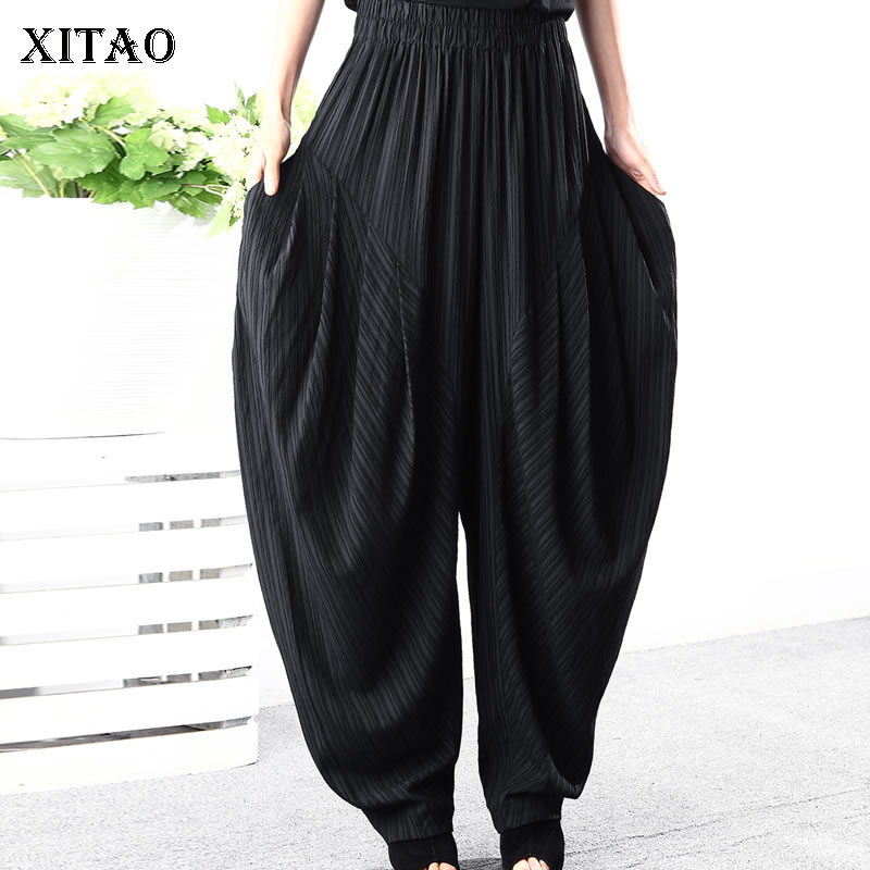 [XITAO] New Women Korea Fashion 2019 Summer Pleated Wide Leg Pants Female Elastic Waisted Pocket Full Length Pants WBB3518