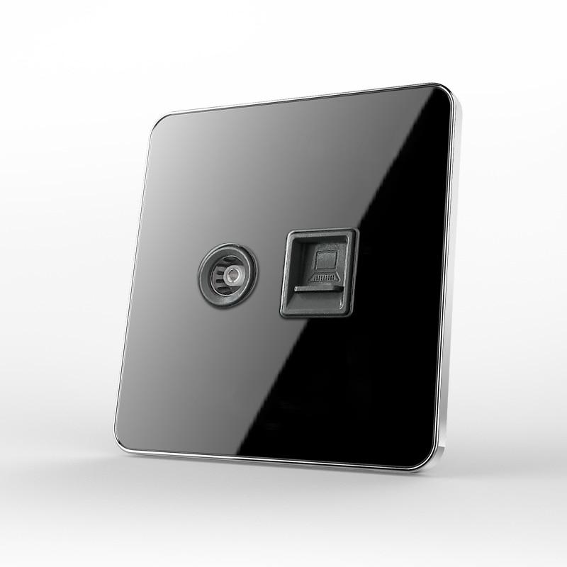 Black mirror glass Type 86 Computer TV Socket Network Telecom Broadband + TV Socket Switch Panel
