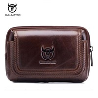 Bullcaptain High Quality Travel Bags Men Waist Bag Vintage Genuine Leather Small Waist Pack Buisness Belt
