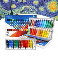 12/24 Colori 15/36ML Vernice Acrilica Set per Prodotti e Attrezzature per Pittura Professionale Dipinto A Mano FAI DA TE Creazione di Acqua resistente Tavolo Da Disegno strumento