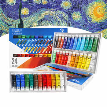 12/24 Colors 15/36ML Acrylic Paint Set for Painting Supplies Professional Hand Painted DIY Creation Water-resistant Drawing Tool - DISCOUNT ITEM  24 OFF Education & Office Supplies