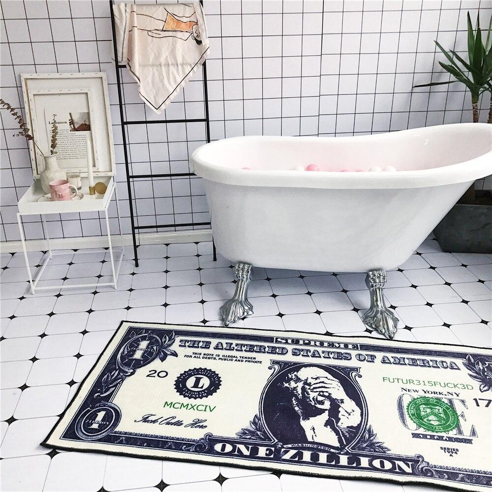 Creative dollar motif tapis de sol flanelle HD imprimé chambre anti dérapant tapis salon décoration porte tapis chevet bande tapis - 2