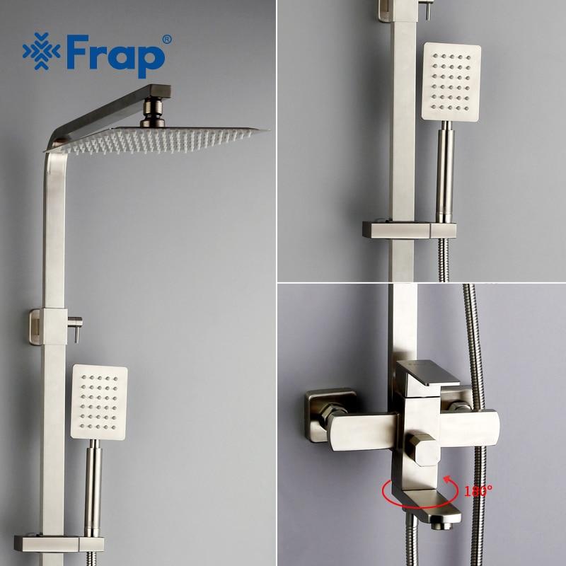 Frap new Muro di Lusso Montato in acciaio inox sistema di Pioggia rubinetti Doccia Set fredda e calda Piazza acqua soffione doccia a mano F2421