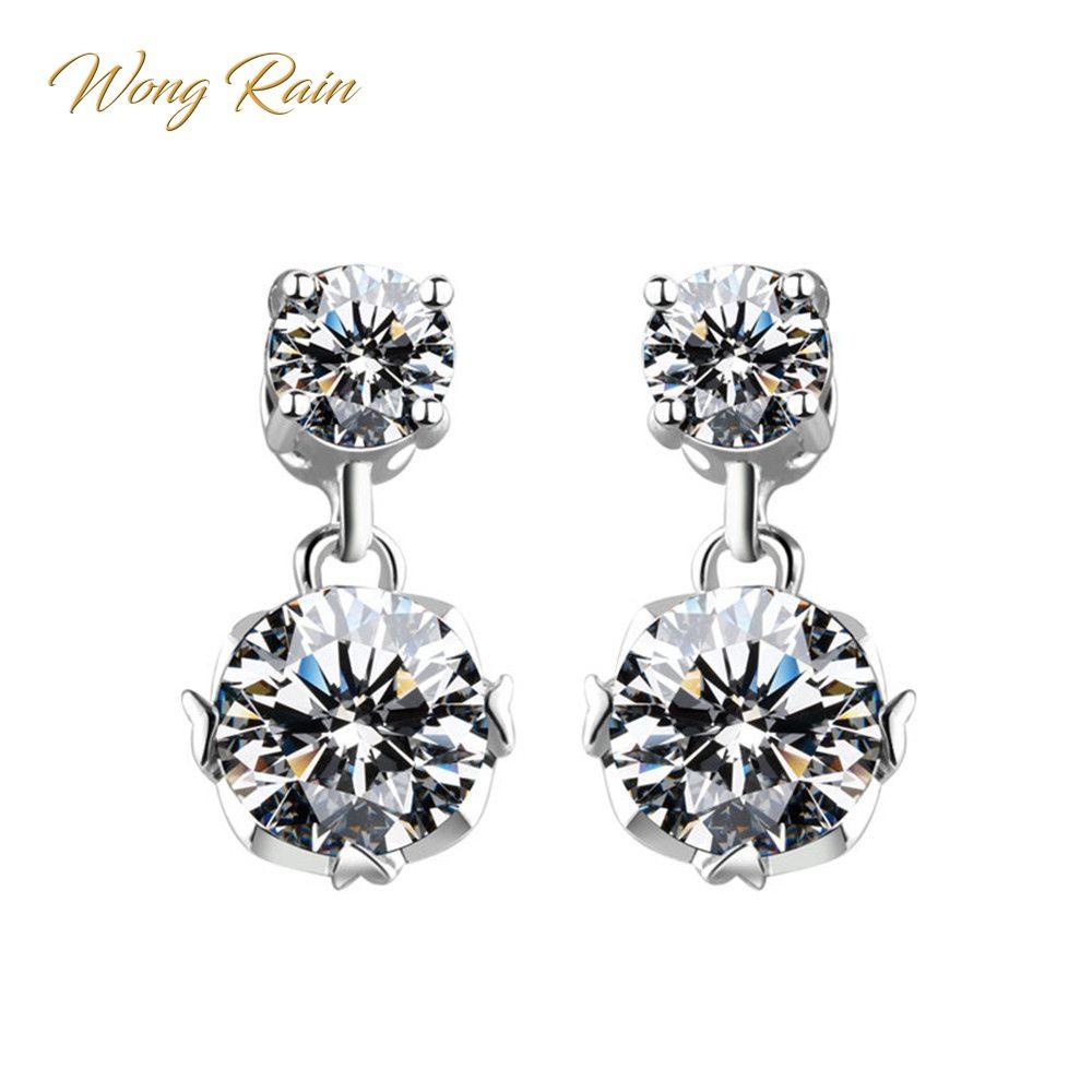 Wong Rain Classic 100% 925 Sterling Silver White Topaz Gemstone Drop Dangle Earrings For Women Wedding Jewelry Wholesale