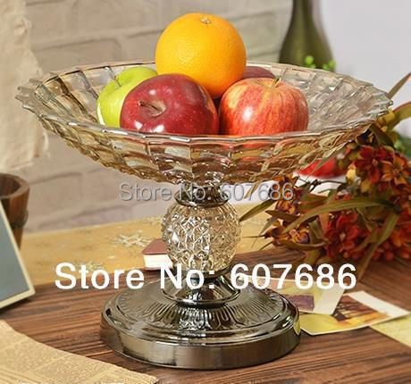 Large Gl Tea Color Fruit Bowl With Metal Black Pedestal Display Holder Serving Centerpiece